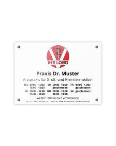 Praxisschild - PVC Hartschaum A4 mit Befestigungs-Set